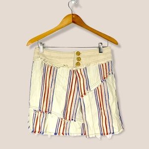 Free People frayed stripe linen mini skirt
